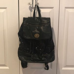 Sequin and faux leather backpack